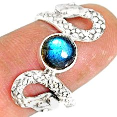 2.56cts natural blue labradorite 925 sterling silver snake ring size 8 r78733