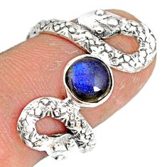 2.56cts natural blue labradorite 925 sterling silver snake ring size 8 r78735