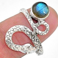 2.72cts natural blue labradorite 925 sterling silver snake ring size 8 t11096