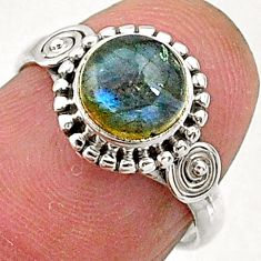 2.30cts natural blue labradorite 925 sterling silver solitaire ring size 6 t5086