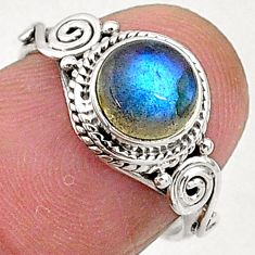 2.58cts natural blue labradorite 925 sterling silver solitaire ring size 6 t5089