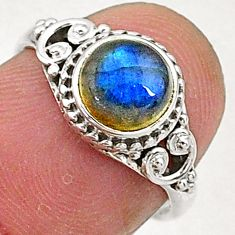 2.54cts natural blue labradorite 925 sterling silver solitaire ring size 6 t5093