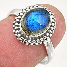 2.97cts natural blue labradorite 925 sterling silver solitaire ring size 6 t5100