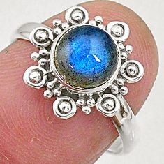 2.35cts natural blue labradorite 925 sterling silver solitaire ring size 7 t5094
