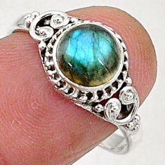 2.41cts natural blue labradorite 925 sterling silver solitaire ring size 8 t5085