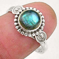 2.42cts natural blue labradorite 925 sterling silver solitaire ring size 8 t5091