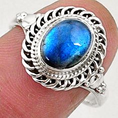 2.93cts natural blue labradorite 925 sterling silver solitaire ring size 8 t5097