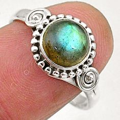 2.42cts natural blue labradorite 925 sterling silver solitaire ring size 8 t5098