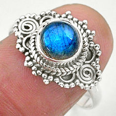 2.28cts natural blue labradorite 925 sterling silver solitaire ring size 9 t3579