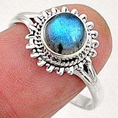 2.45cts natural blue labradorite 925 sterling silver solitaire ring size 9 t5087