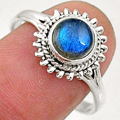 2.42cts natural blue labradorite 925 sterling silver solitaire ring size 9 t5095