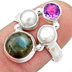 5.63cts natural blue labradorite amethyst pearl 925 silver ring size 7 r22929