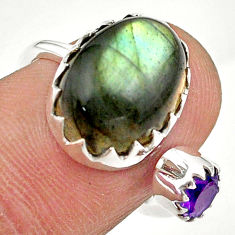 6.83cts natural blue labradorite amethyst silver adjustable ring size 6 t43481