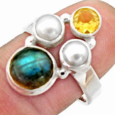 5.63cts natural blue labradorite citrine 925 sterling silver ring size 7 r22923