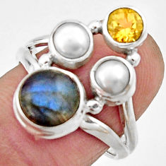 5.79cts natural blue labradorite citrine 925 sterling silver ring size 8 r22921