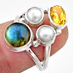 5.87cts natural blue labradorite citrine pearl 925 silver ring size 7 r22937