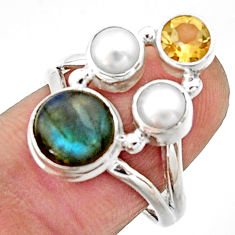 5.53cts natural blue labradorite citrine pearl 925 silver ring size 8 r22938