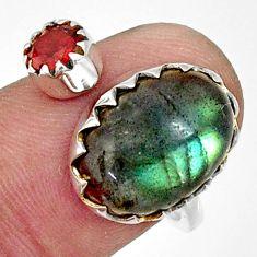 7.97cts natural blue labradorite garnet 925 silver adjustable ring size 8 r33372