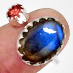 7.24cts natural blue labradorite garnet 925 silver adjustable ring size 8 r33380