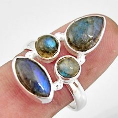 7.24cts natural blue labradorite marquise sterling silver ring size 8.5 r21157