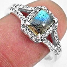 2.61cts natural blue labradorite octagan topaz 925 silver ring size 8.5 r72665