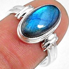 4.42cts natural blue labradorite oval 925 silver solitaire ring size `7 r66361