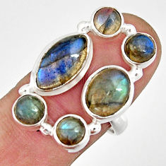 7.62cts natural blue labradorite oval 925 sterling silver ring size 7.5 r21151