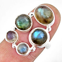 7.09cts natural blue labradorite oval 925 sterling silver ring size 6.5 r21159