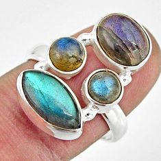 7.83cts natural blue labradorite oval 925 sterling silver ring size 7.5 r21192