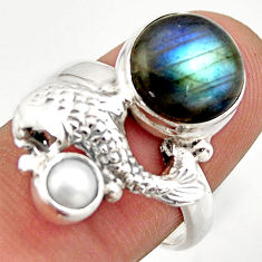 6.80cts natural blue labradorite pearl 925 silver fish ring size 7.5 d46137