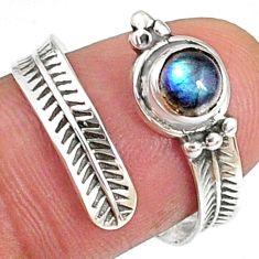 1.17cts natural blue labradorite round 925 silver adjustable ring size 8 r68534