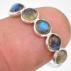 1.98cts natural blue labradorite round 925 silver solitaire ring size 7.5 t7694