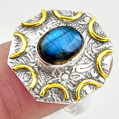 3.16cts natural blue labradorite silver 14k gold solitaire ring size 7.5 r37275