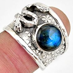 4.35cts natural blue labradorite silver dragon solitaire ring size 6.5 d45898