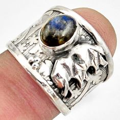 2.28cts natural blue labradorite silver elephant solitaire ring size 6.5 d45900