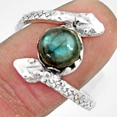 3.48cts natural blue labradorite silver snake solitaire ring size 10.5 r22571