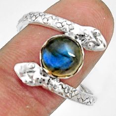 3.46cts natural blue labradorite silver snake solitaire ring size 10.5 r22572