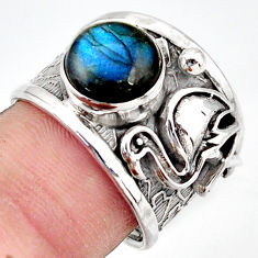 4.54cts natural blue labradorite silver solitaire flamingo ring size 7 d45920