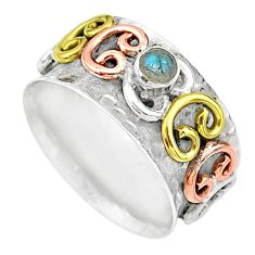0.50cts natural blue labradorite silver two tone spinner ring size 9.5 t12655