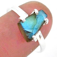 5.19cts natural blue labradorite slice 925 silver solitaire ring size 8.5 r95486