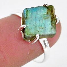 6.65cts natural blue labradorite slice 925 silver solitaire ring size 7.5 r95488