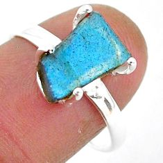 6.55cts natural blue labradorite slice 925 silver solitaire ring size 8.5 r95490