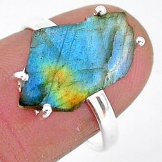 6.62cts natural blue labradorite slice 925 silver solitaire ring size 7.5 r95492