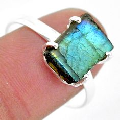 5.61cts natural blue labradorite slice 925 silver solitaire ring size 9.5 r95495