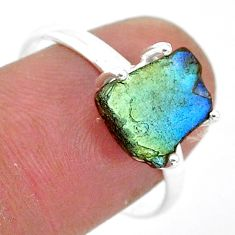 5.24cts natural blue labradorite slice 925 silver solitaire ring size 9.5 r95496