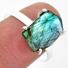 6.37cts natural blue labradorite slice 925 silver solitaire ring size 9.5 r95498