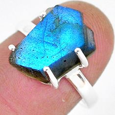 6.49cts natural blue labradorite slice 925 silver solitaire ring size 7.5 r95499