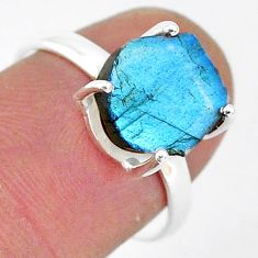 5.91cts natural blue labradorite slice 925 silver solitaire ring size 7.5 r95500