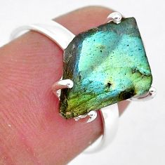 5.85cts natural blue labradorite slice 925 silver solitaire ring size 7 r95483