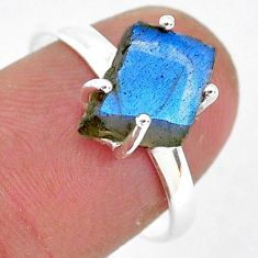 4.97cts natural blue labradorite slice 925 silver solitaire ring size 8 r95482
